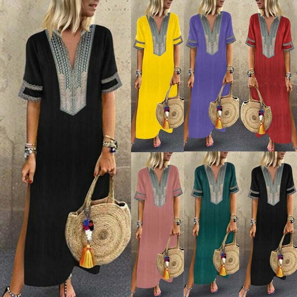 Women s Printed Long Sleeve V neck Maxi Dress Hem Baggy Kaftan Long Dress