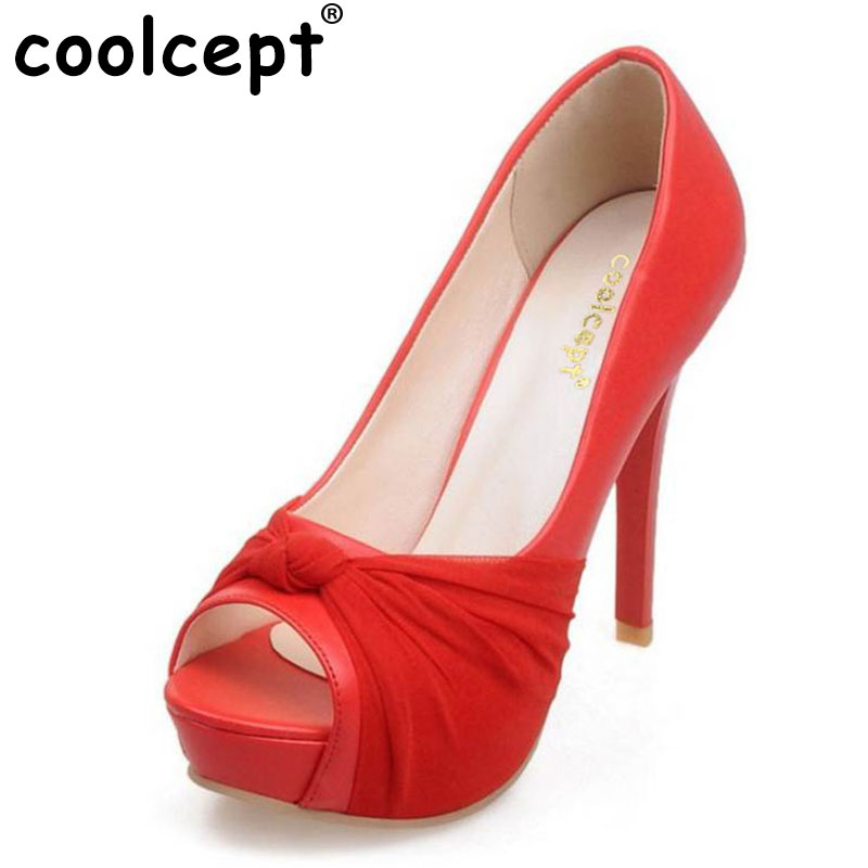 Coolcept size 32-43 office lady high heel shoes women bownot peep toe thin heels pumps party club wedding sexy women footwears doratasia denim eourpean style big size 33 43 pointed toe women shoes sexy thin high heel brand design lady pumps party wedding