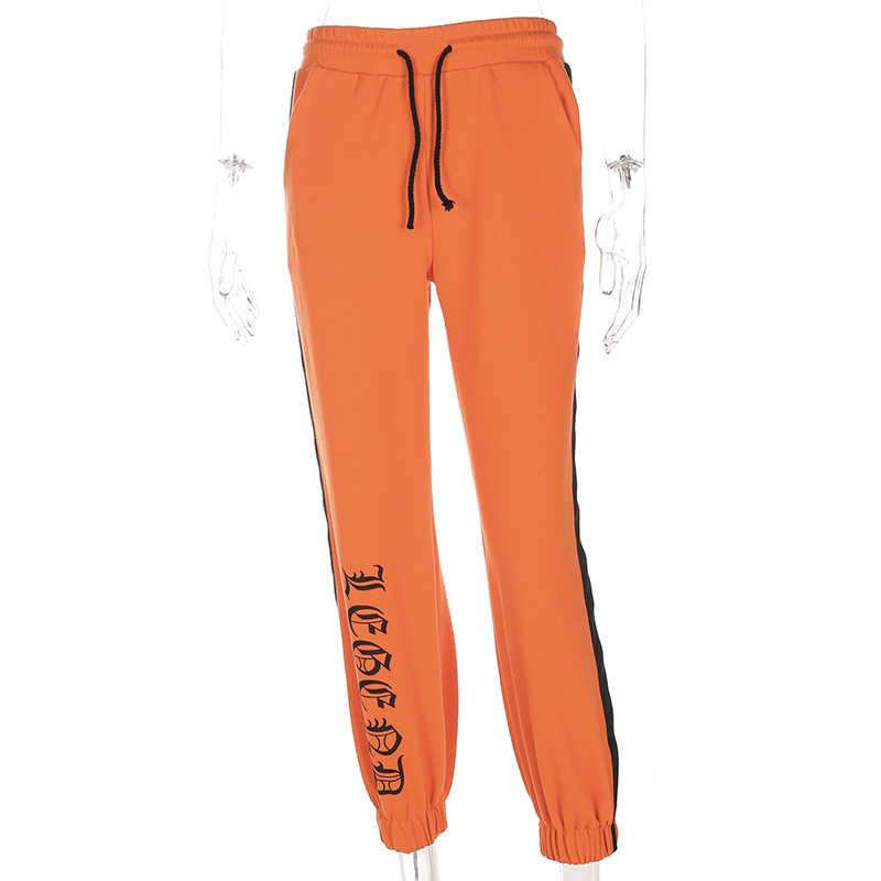 Weekeep 2017, женские зимние узкие брюки с буквенным принтом, с черной лентой, повседневные свободные оранжевые брюки на завязках, Femme Pantalon