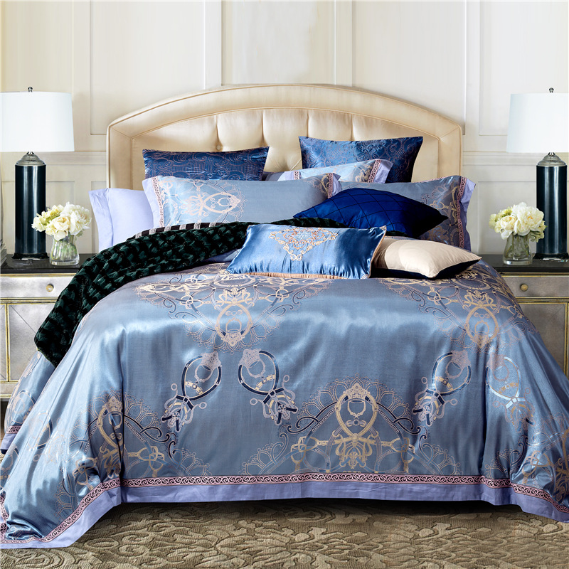 luxury jacquard cottonsilk bedding bedding set duvet cover set bed sheet comforter set quilt cover - King Size Bed Sheets