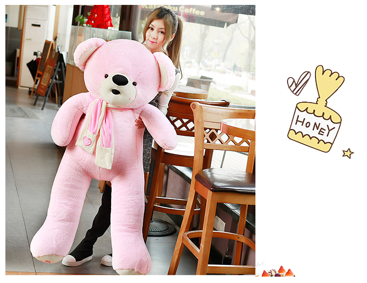 big new plush teddy bear toy pink love scarf bear doll gift about 160cm new cute plush brown teddy bear toy pink heart and bow bear doll gift about 70cm