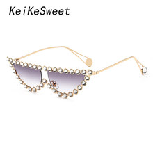 KeiKeSweet Lunettes De Soleil de Mode Marque Femmes Strass De Luxe Chaude  Rayons Cristal Dame Transparent Shades Lunettes de Sol. f7b83919ec68