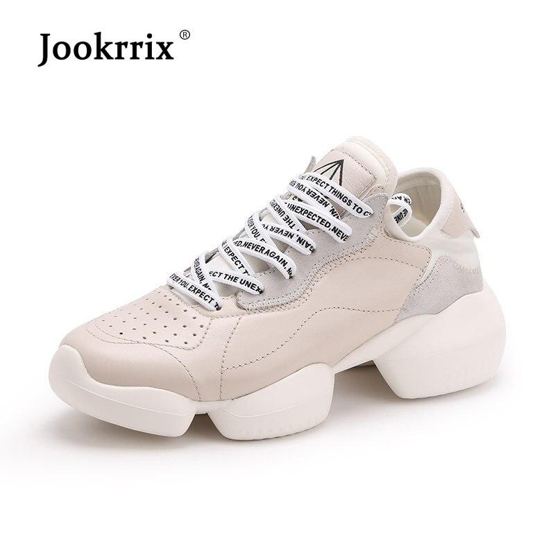 Jookrrix femmes baskets en cuir de vache pour femme chaussures Chunky noir pour femmes augmenté 5 cm chaussures baskets blanches chaussures dame