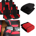 New 11pcs Black&Red Car Seat Covers Set Seat Protector Mat Pads Car Care  hot selling