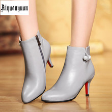2017 Winter Solid Size to 44 45 46 47 48 Fashion High quality PU Sequined decoration Ankle Boots Zipper design Pointed Toe shoes