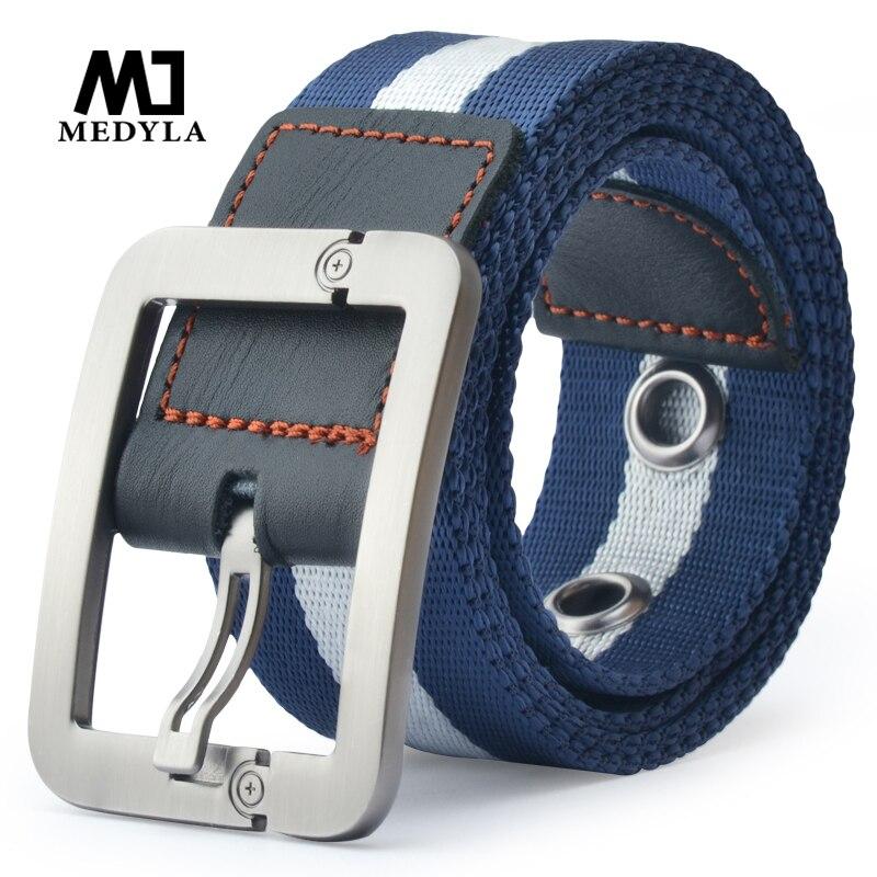 MEDYLA venta directa Real Cintos femeninos Cinto femenino cinturones para hombres cinturón de lona hebilla de Nylon de cinturón