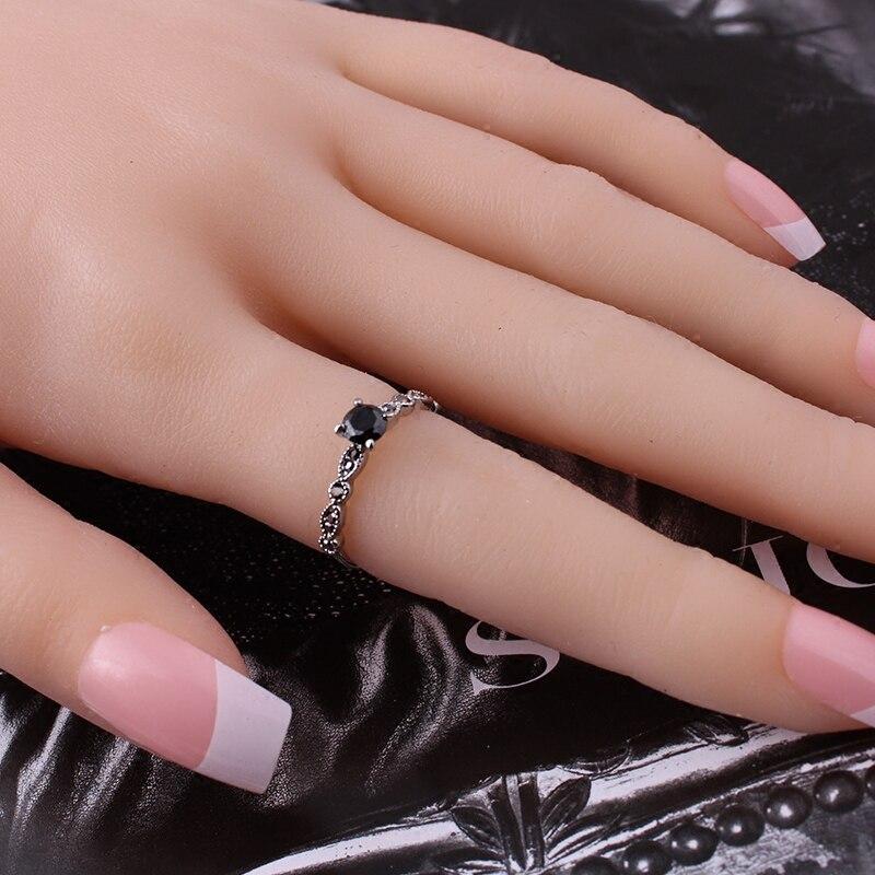 Luksuslik must kristall rõngad Vintage antiik hõbedane sõrmega - Mood ehteid - Foto 3