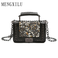 MENGXILU Latest Fashion Long Chains Crossbody Bags For Women Small Summer PU Leather Stylish Brown Female