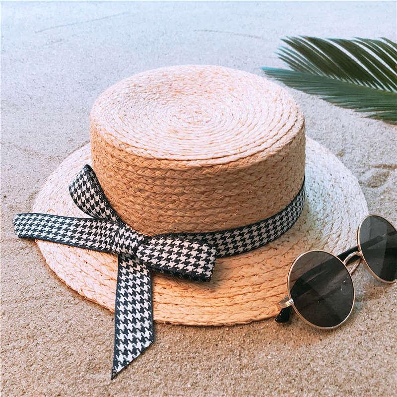 Bekleidung Zubehör WohltäTig 100% Bast Stroh Frauen Weben Boater Sonne Hut Für Dame Sommer Strand Flache Sunbonnet Mode Bowknot Größe 56-58 Cm