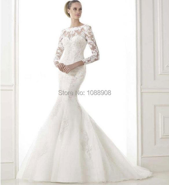 2015 sexy sweetheart transparent gauze long sleeve lace applique beads  sequins bride wedding dress custom removable vest 263a8b73888f