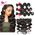 Malaysian body wave hair with closure bleached knots Front lace closure with bundles ear to ear lace frontal closure with bundle