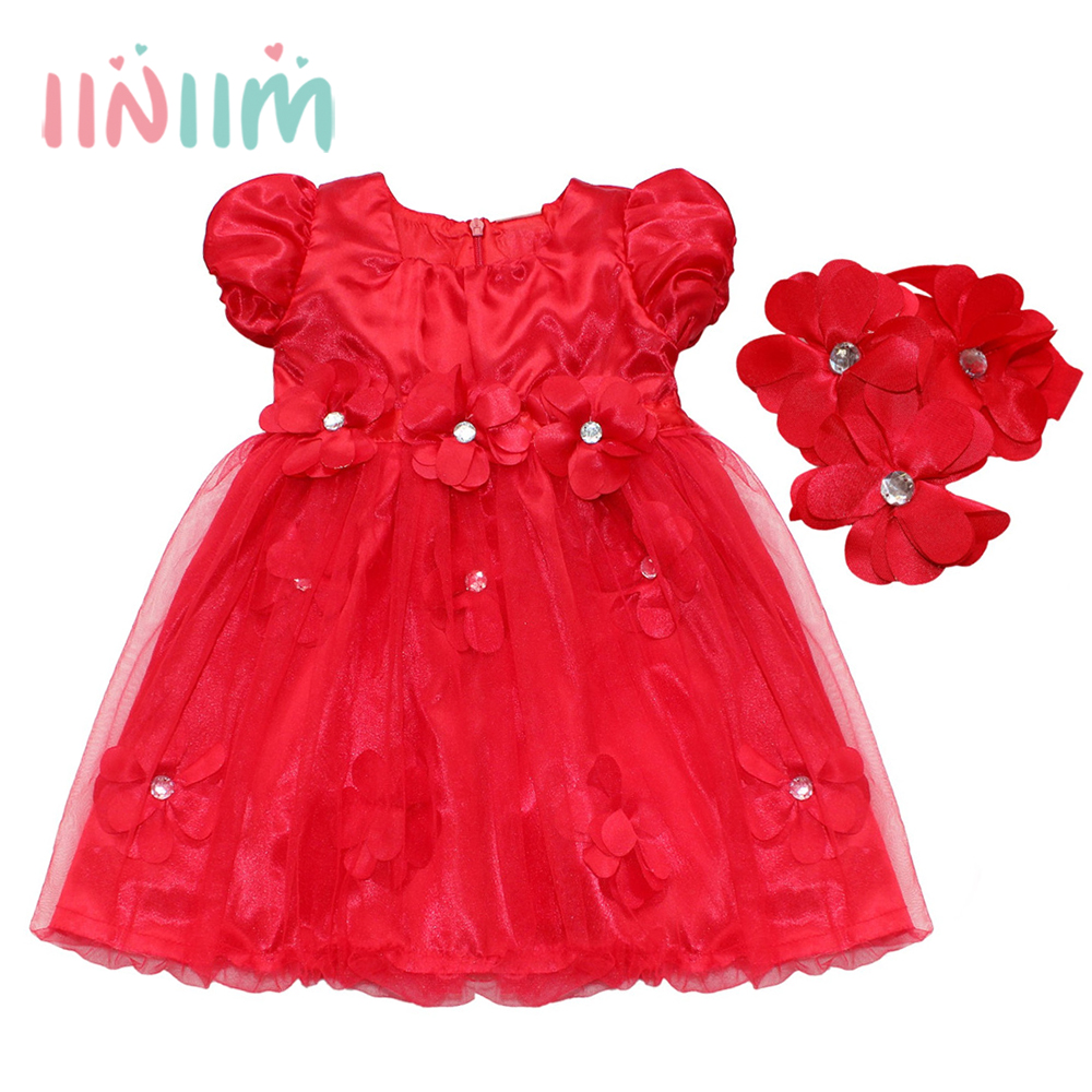2Pcs Newborn Infantil Baby Girls Clothing Formal Princess Dress Flower Tutu  Pearls 1 Years Birthday Party 977fb794a2f7