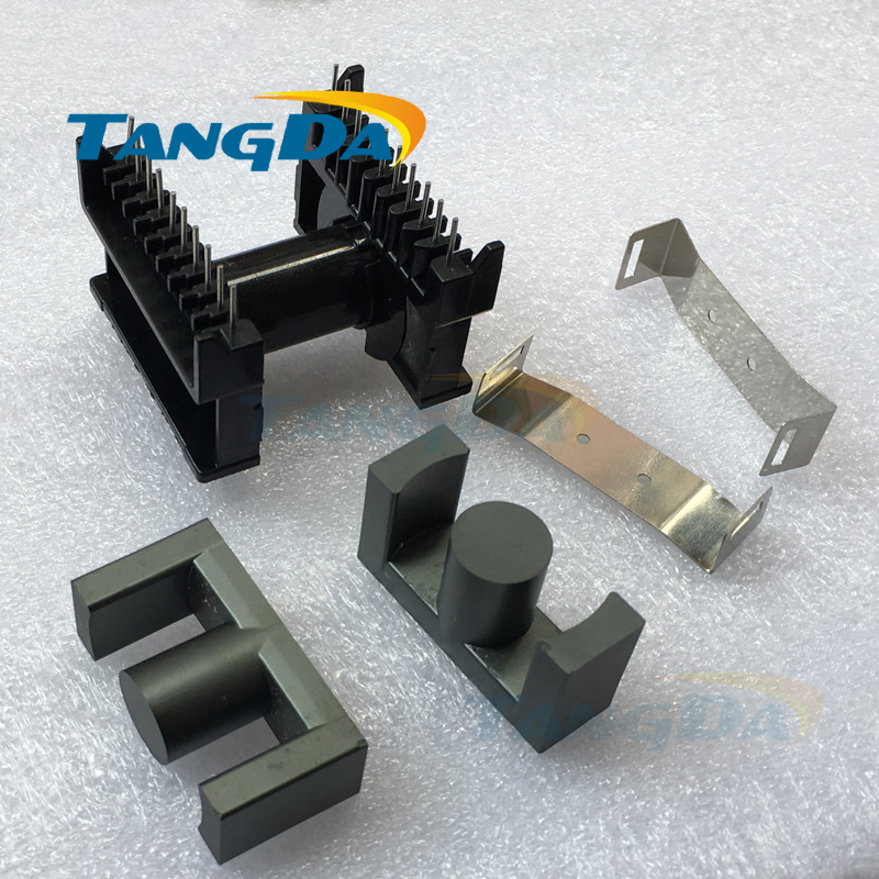 Tangda ETD49 core Bobbin 10+10pin 20p magnetic core+skeleton PC40 soft ferrite cores High frequency horizontal A. ee42 plastic bobbin magnetic ferrite cores for transformer