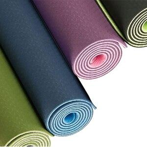Image 5 - Estera de Yoga antideslizante de dos colores Tpe de 6Mm, estera deportiva de 183x61Cm, estera insípida para gimnasio en casa