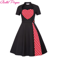 2018 Summer Dress Retro Party Dresses 1950s 60s Vintage Pinup Swing Casual Polka Dot Dress Ladies