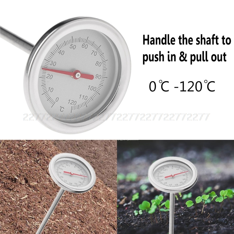 50cm Premium Stainless Steel Compost Thermometer Soil Garden Backyard 0℃-120℃