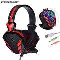 Cosonic CD-618 Gaming Headset Juego de Auriculares Super Bass HiFi Estéreo LLEVÓ La Luz con el Crack Línea/Control de Volumen/Micrófono para PC