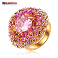LZESHINE Fantastic Beautiful Flower Ring Gold Plated Round Ring Fashion Genuine Austrian Crystals  Women Rings Ri-HQ0351