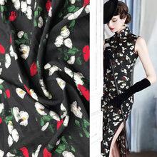 Jane YU New high-grade black stretch silk flower print floral chiffon fabric dress cheongsam clothing