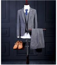 Men Suits Slim Fit Grey Groom Tuxedos Mens Wedding Suits 2016 Groomsmen Suits One Button Mens 3 Pieces Suit (Jacket+Pants+Vest)