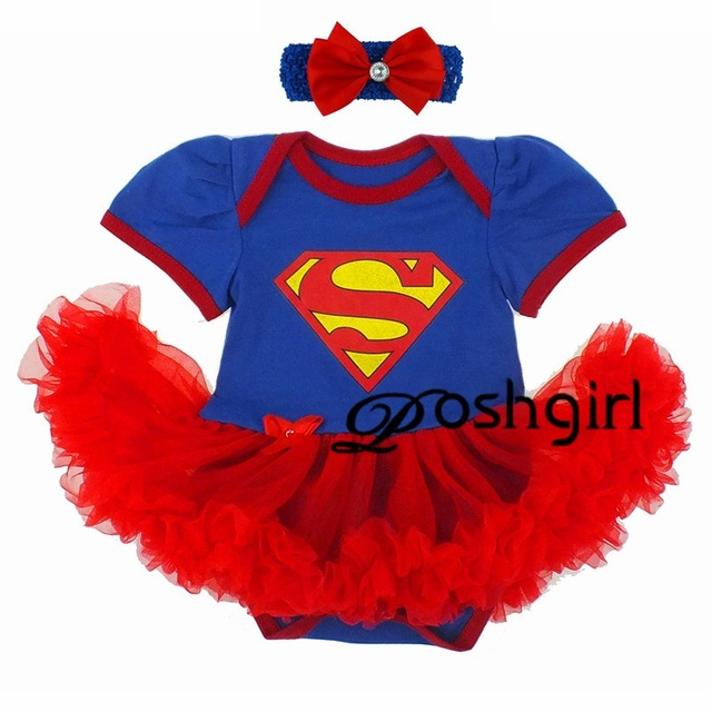 65616b50fb50 Superman Jumpsuit Costume Justice League Child's Supergirl Tutu Dress  Little Girls Party Dress for Christmas Super