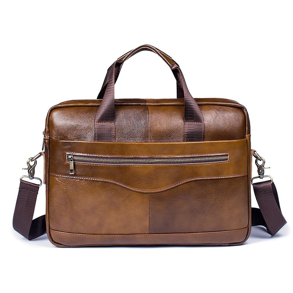 Men's Briefcase Genuine-Leather Tote Computer-Handbag Messenger-Bag Business Luxury Male