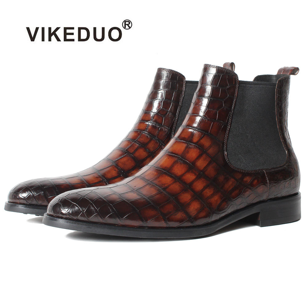 Vikeduo Hot Handmade Designer Crocodile Retro Alligator Fashion Luxury Winter Ankle Footwear Fur Genuine Leather Mens Boots Male vikeduo 2018 classic custom handmade fashion luxury office genuine leather boots designer winter snow crocodile dress men boots
