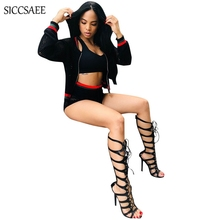 2018 Fall Black 3 Piece Set Mesh Crochet Sheer Short Sets For Women Tank Top Outfits Striped Printed Bike Shorts Sexy Club Wear