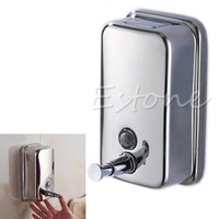 A96 Free Shipping Wholesale And Retail Promotion NEW Bathroom Wall Mounted Stainless Steel Liquid Soap Dispenser