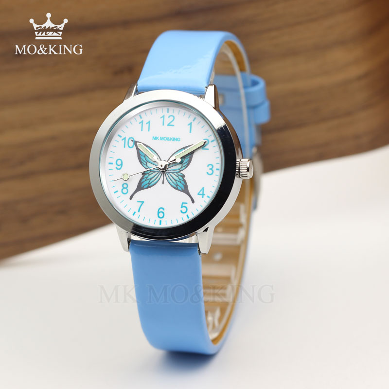 Luxury Blue Educational Butterfly Cute Cartoon Patterns Children's Boys Girls Kids Quartz Wrist Watch Clock Gifts Bracelet Box