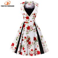 S 4XL Women New 50s 60s Retro Vintage Dress Polka Print Patchwork Sleeveless Spring Summer Dress