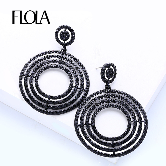 Flola Punk Rock Hoop Earrings Statement Rhinestone Crystal Round Large Black Dangle Jewelry Whole