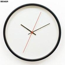 12 дюймов современный белый, черный и розовый цвета настенные часы Vogue Европейский Изысканный Минималистский металлический каркас Тихая Mute настенные часы для домашнего декора