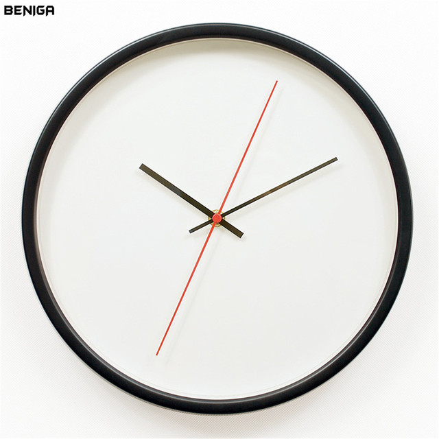 12 Inch Modern White Black Red Wall Clock Vogue European Exquisite Minimalist Metal Frame Silent Mute