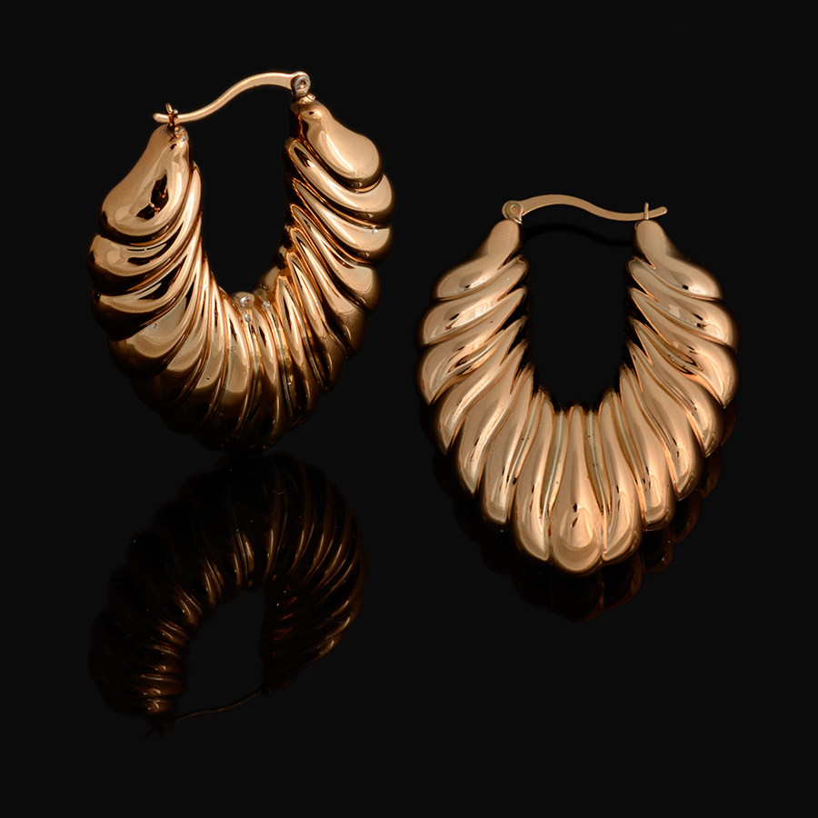Fashion Large Gold Earrings For Women Big Dubai African Jewelry