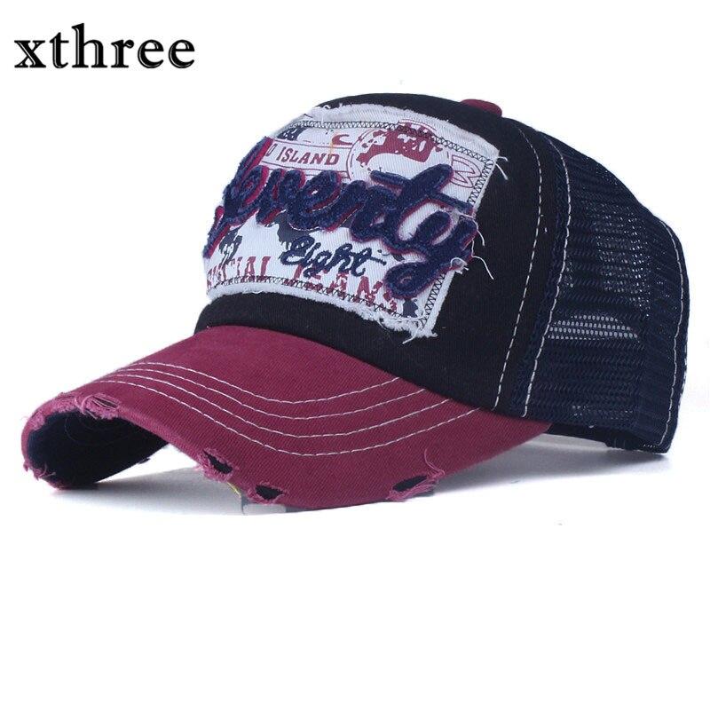 Prix pour Xthree d'été casquette de baseball femmes snapback casquettes fille net cap casquette broderie lettre cap os chapeaux pour hommes femmes vêtements