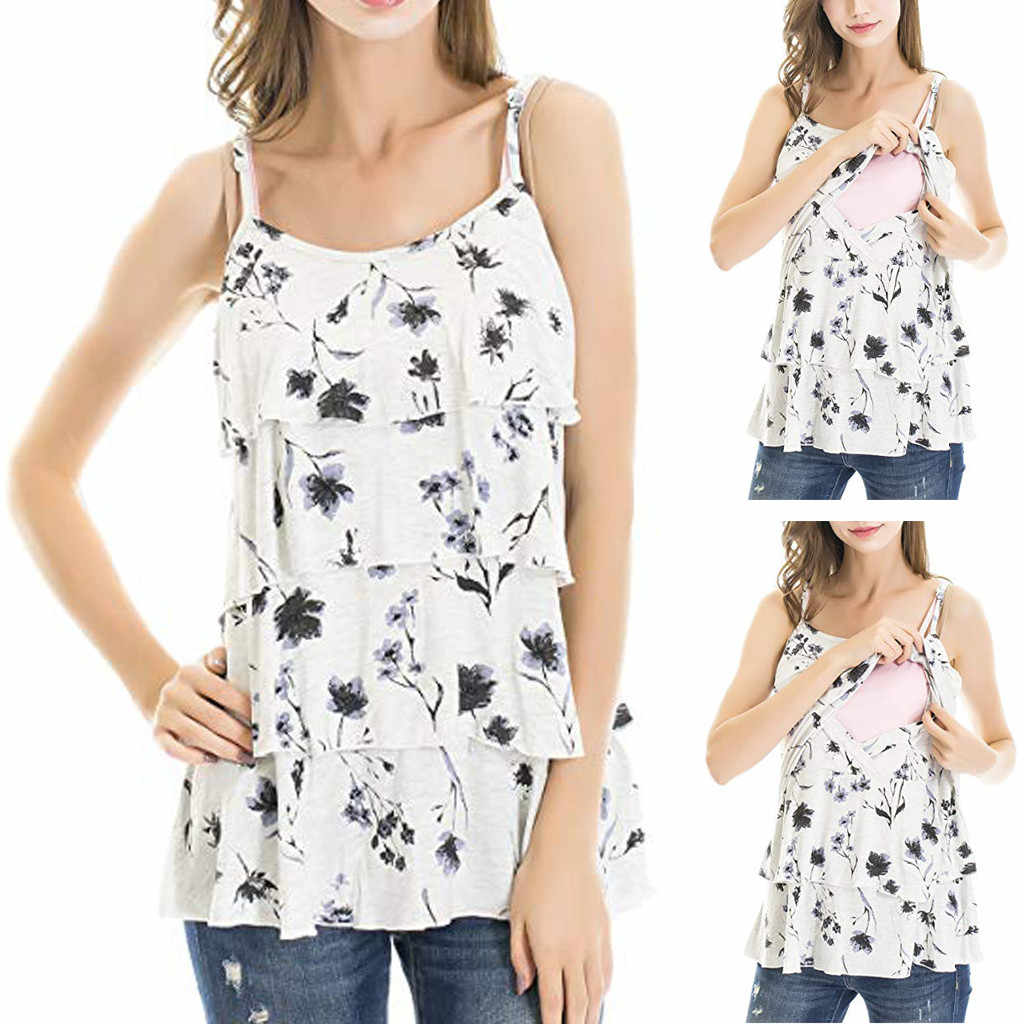 Elegant New Fashion Women Pregnant Sleeveless T Shirt Floral Breastfeeding Nusring Maternity Clothes T Shirt ropa embarazada