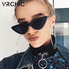 Vrchic 2018 nuevo atractivo lindo retro gato ojo Gafas de sol mujeres negro triángulo blanco vintage barato Sol Gafas femenino UV400