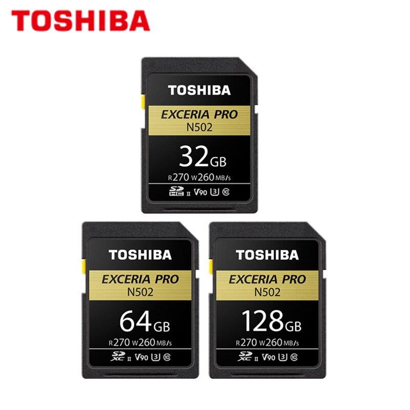 Carte SD 270 MB/S 32 GB 64 GB V90 Class 10 128 GB U3 UHS-II pour caméra vidéo Full HD 8 k d'origine TOSHIBA extrait Pro N502
