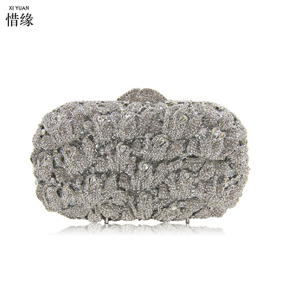 XIYUAN BRAND Women gold Evening Bags ladies silver Crystals Diamond leaf clutch Purses for party Fashion Wedding Box Clutches все цены
