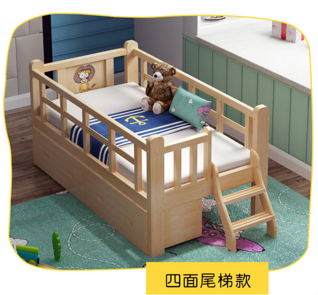 Louis Fashion Solid Wood with Guardrail Twin Boys and Girls Princess Beds Baby Side Beds Wide Spliced Queen 1