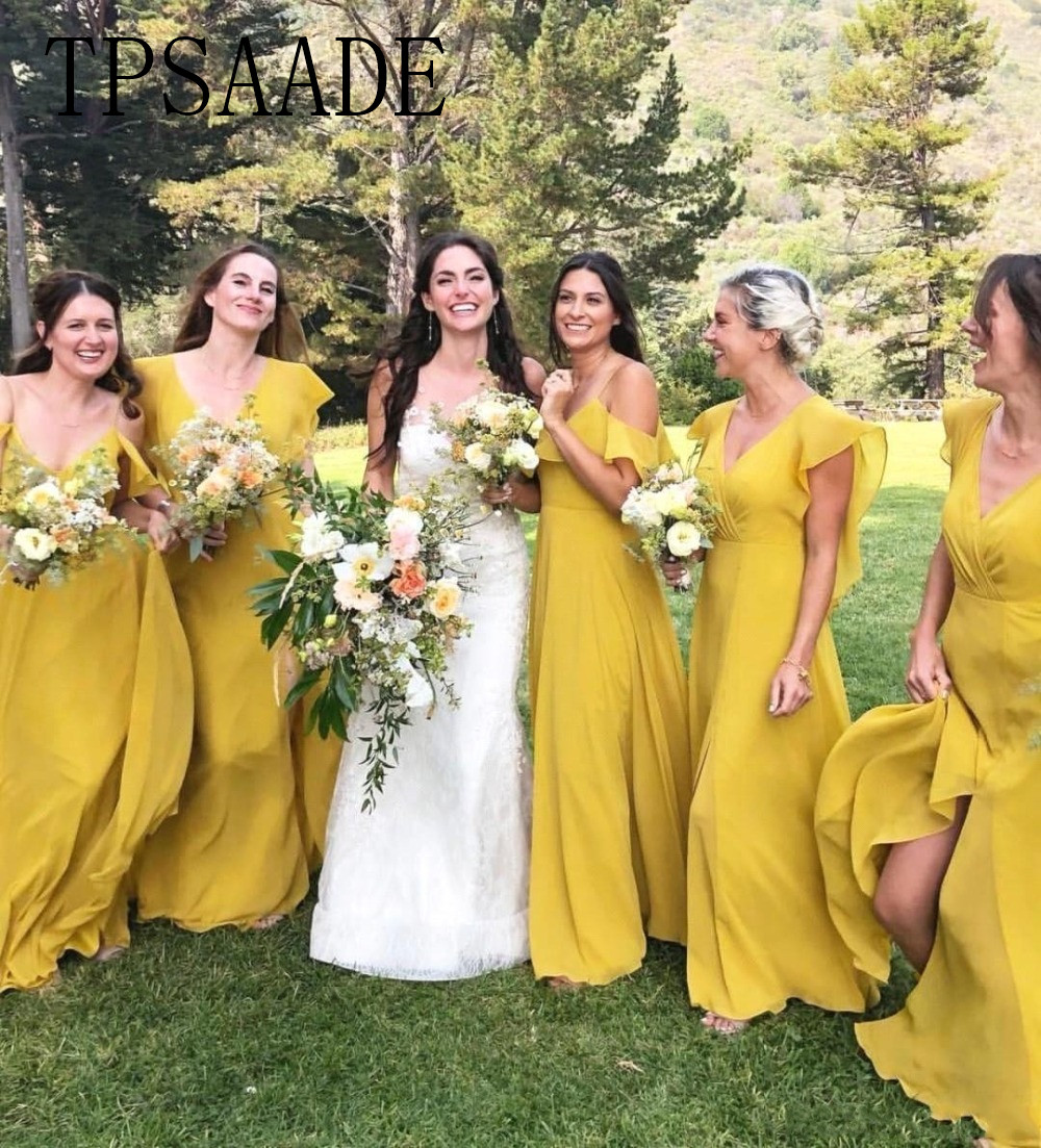 TPSAADE Bohemian Long Yellow Bridesmaid Dresses 2019 V Neck Countryside Bridesmaids Gowns Chiffon Prom Dresses Party Gown
