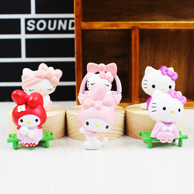 6Pcs/lot Kawaii Hello Kitty Action Figures Toys garden style Cute Anime beauty Kitty Doll Plastic PVC Toy Kids Gifts