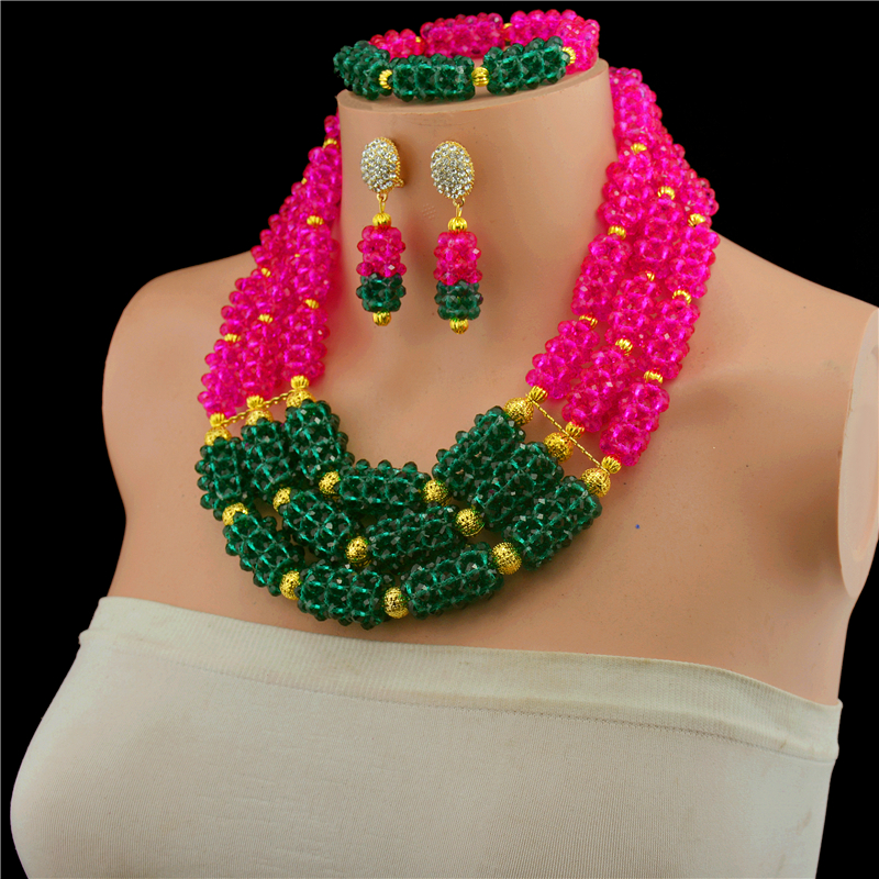Fantastic Wedding Crystal Beads Jewelry Sets for African Women Bridal Indian Dubai Gold-color Statement Necklace Set CNR731Fantastic Wedding Crystal Beads Jewelry Sets for African Women Bridal Indian Dubai Gold-color Statement Necklace Set CNR731