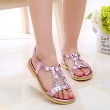 2017 Kids Girls Fashion Sandals Flats Shoes Children Summer Sandals Beach Soft Shoes