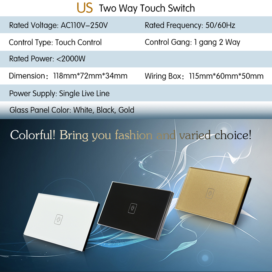 Touch Switch 1 Gang 2 Way White Crystal Glass panel,US Standard ...