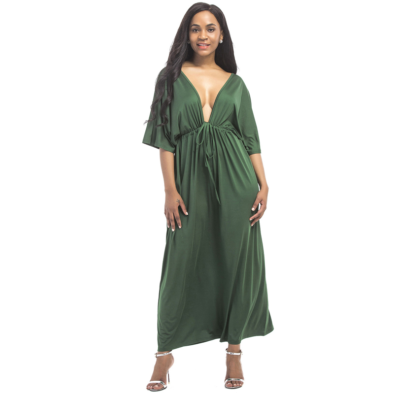 Plus Size 3xl 4xl 5xl Women Clothing Batwing Sleeve Loose Long Dress Large Size Sexy Backless V Neck Party Club Vestidos