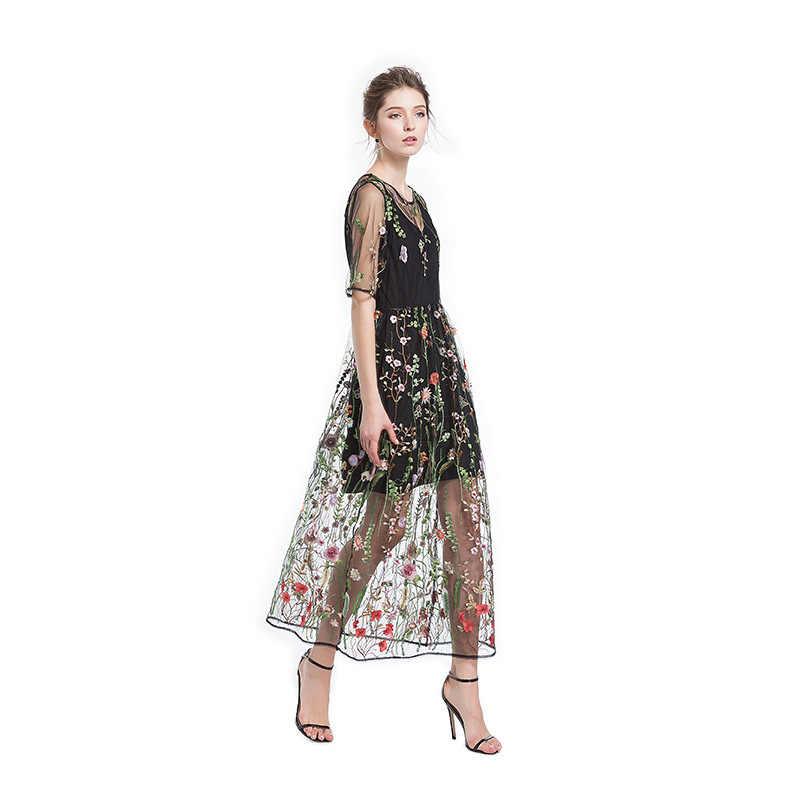Сексуальное женское платье с цветочной вышивкой, прозрачное Сетчатое летнее Бохо длинное ТРАПЕЦИЕВИДНОЕ ПЛАТЬЕ, прозрачное черное платье 2019 Vestidos De Festa