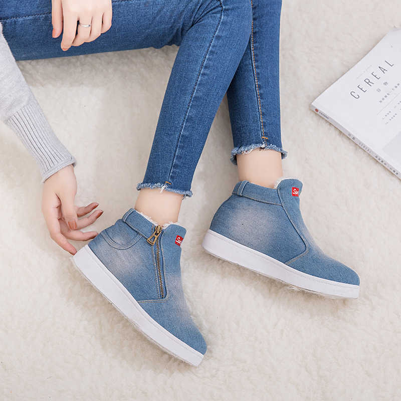 08ad96f7351 ... Classic Winter Snow Boots Platform Ankle Boots Warm Round Toe Denim  Flat Shoes Women High Top ...