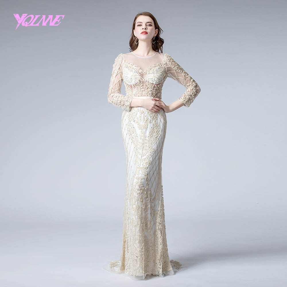 2019 Elegant Beige Long Sleeve   Evening     Dresses   Lace Mermaid   Evening   Gown   Dress   YQLNNE